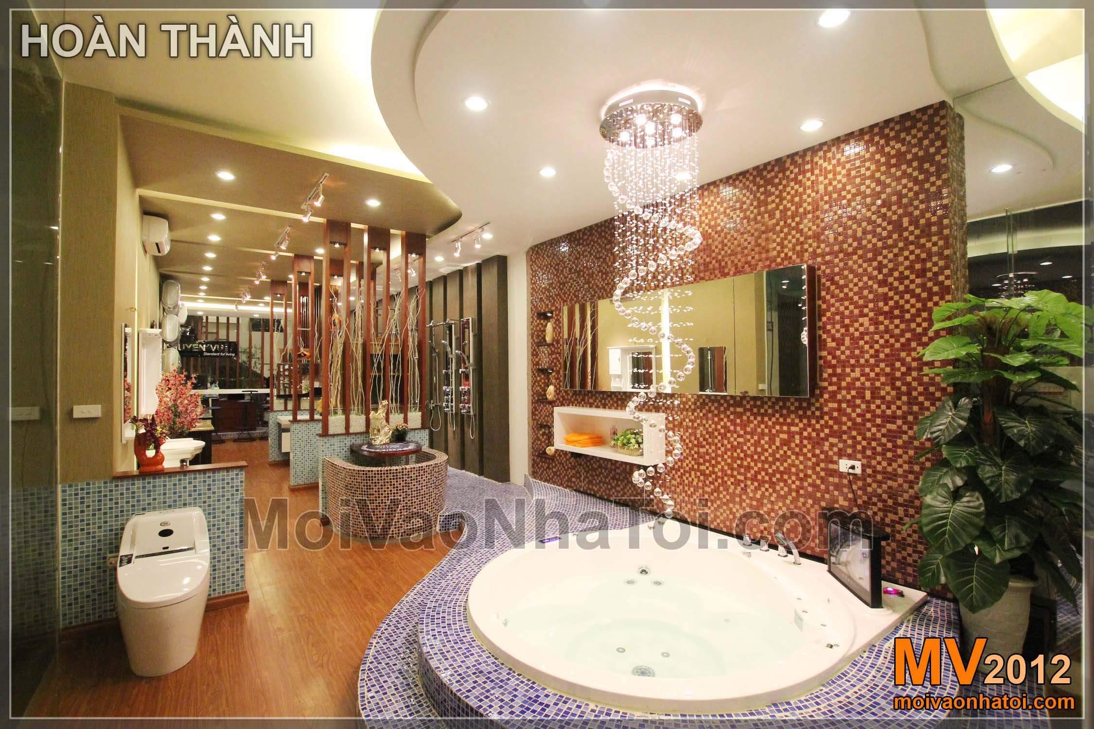 Do đó, điểm nhấn chính của thiết kế Showroom này là bồn tắm tròn