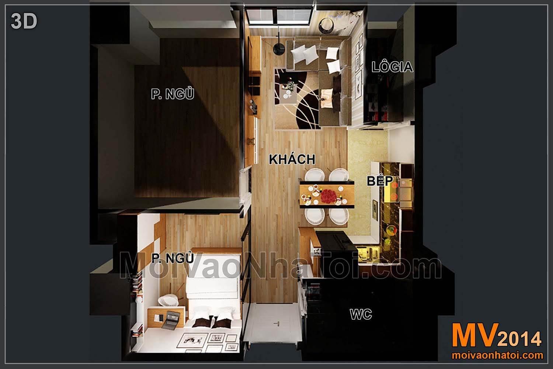 3D mặt bằng căn hộ sau khi cải tạo, thay đổi vị trí phòng