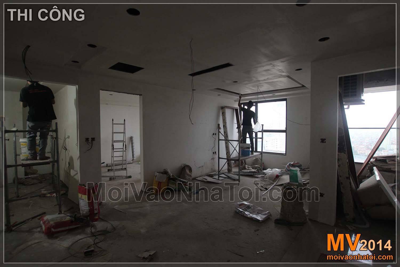 Phòng khách trong quá trình thi công hoàn thiện