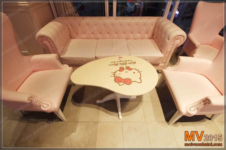 Bàn ghế sofa mini hiệu Hello Kitty