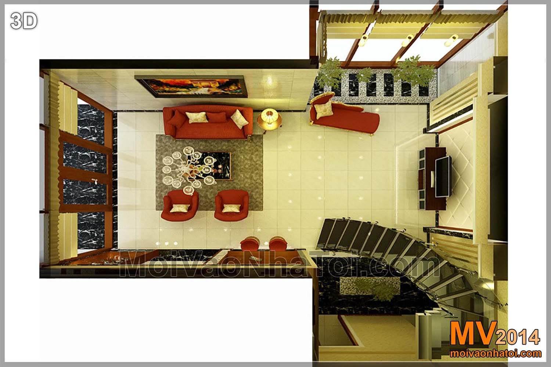 Mặt bằng tầng 1 - phòng khách và bếp ăn