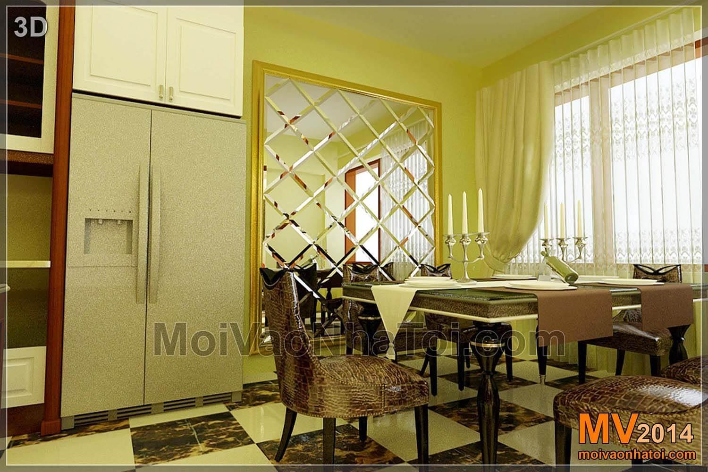 Thiết kế 3D nội thất khu vực bếp, bàn ăn