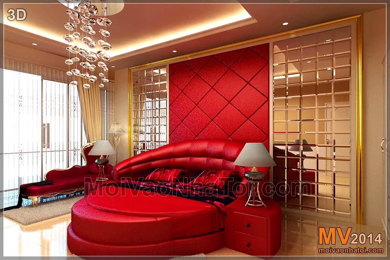 Thiết kế 3D phòng ngủ lớn tầng 2 & ảnh chụp quá trình thi công