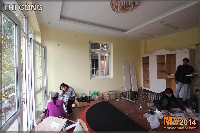 Quá trình thi công nội thất và phòng ngủ sau khi hoàn thành