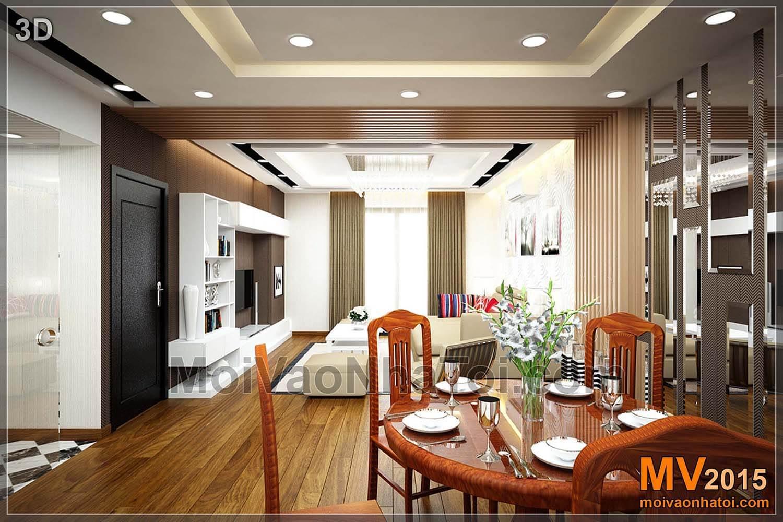 Phòng khách, bếp ăn chung cư T8 Times City