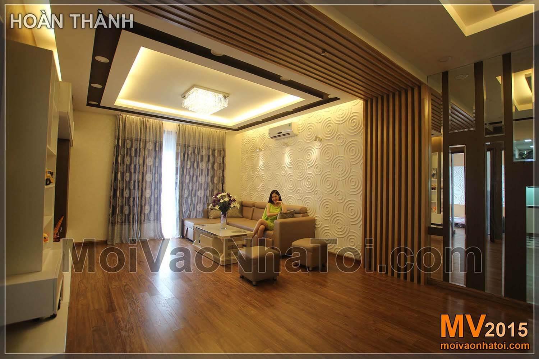Chung cư Times City T8 Nội thất phòng khách với vật liệu hiện đại