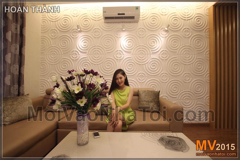 Chung cư Times City T8 Mảng ốp 3D sau lưng sofa