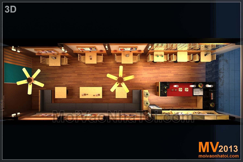 Thiết kế nhà hàng - mặt bằng tổng thể