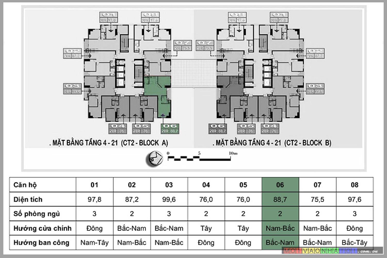 Mặt bằng chung cư Nam Đô Complex 609 Trương Định căn hộ 88.7m2