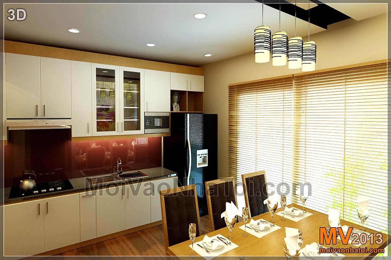 Thiết kế tủ bếp, khu vực bàn ăn bản vẽ 3D
