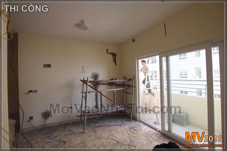Thiết kế tủ bếp, khu vực bàn ăn ảnh chụp thi công