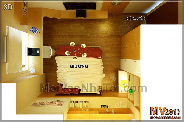 Bố trí mặt bằng thiết kế nội thất phòng ngủ con - bản vẽ 3D