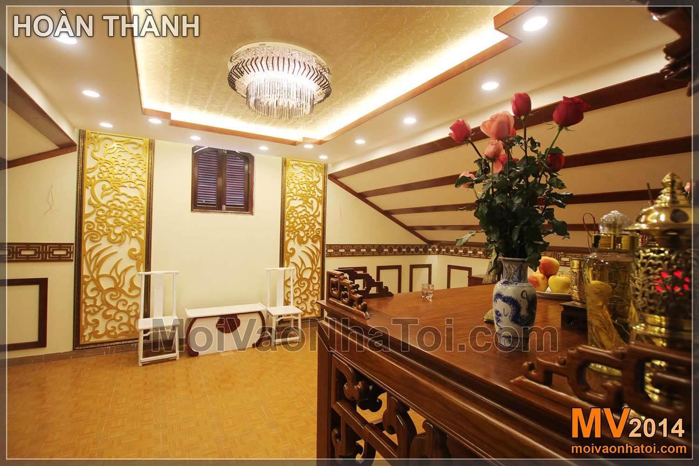 So sánh ảnh hiện trạng và nội thất phòng thờ sau khi hoàn thành