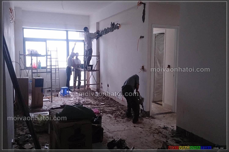 Thi công căn hộ từ cửa bước vào