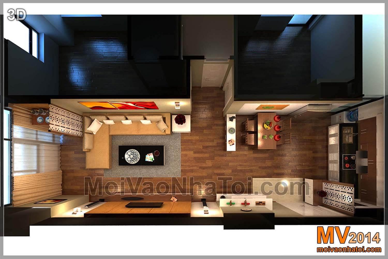 Mặt bằng chung cư VOV Mễ Trì 80m2 - phòng khách bếp