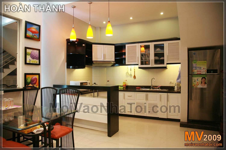 Bếp đẹp liền phòng khách và phòng ăn 23m2
