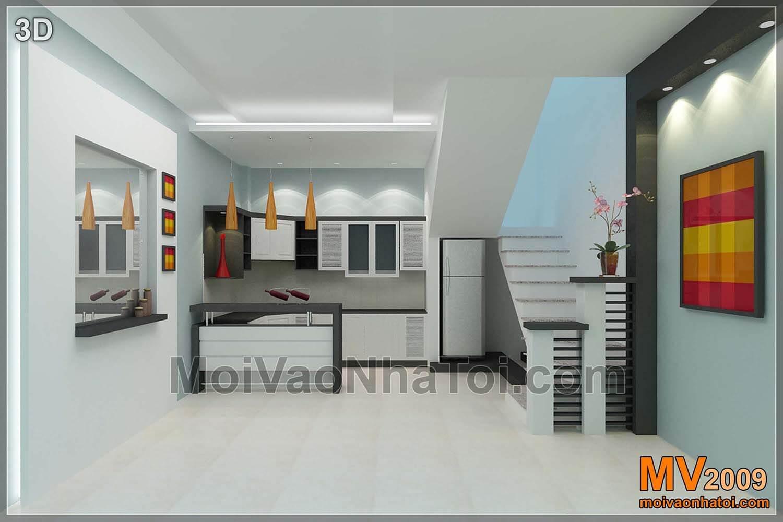 3D thiết kế bếp liền phòng khách và phòng ăn