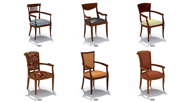 Ghế đơn kiểu cổ điển với mặt ốp nỉ, có tay vịn, hợp với các bàn làm việc, bàn phấn cổ điển