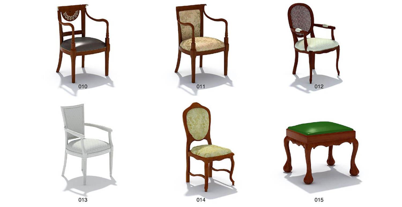 Các mẫu tay ghế, lưng ghế, và chân ghế biến đổi linh hoạt, sáng tạo