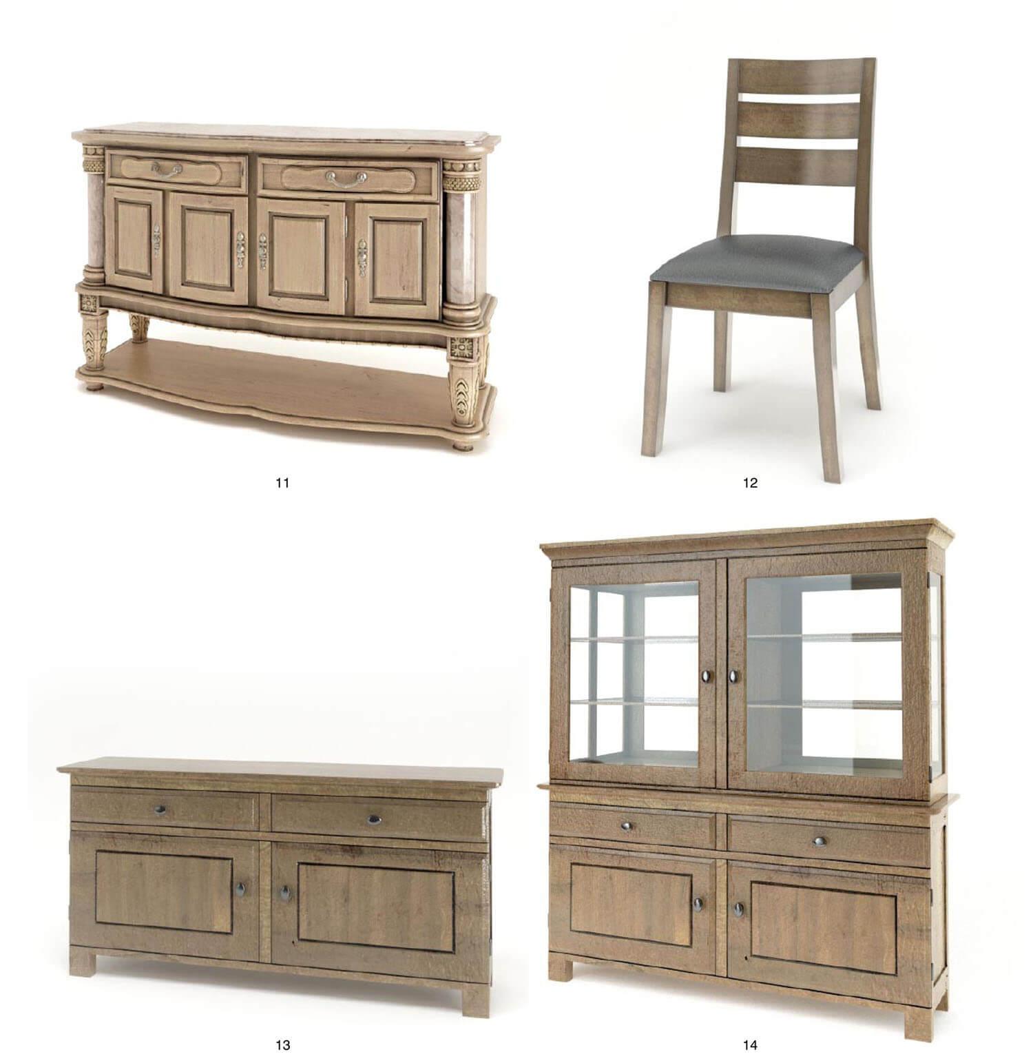 Bàn ghế, tủ trang trí với màu gỗ sáng màu độc đáo