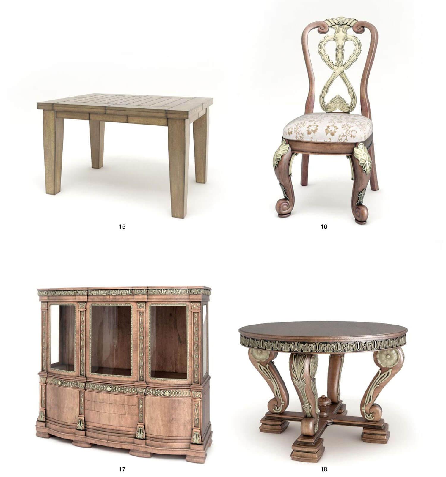 Bàn ghế và tủ với các chi tiết hoa văn bằng đồng