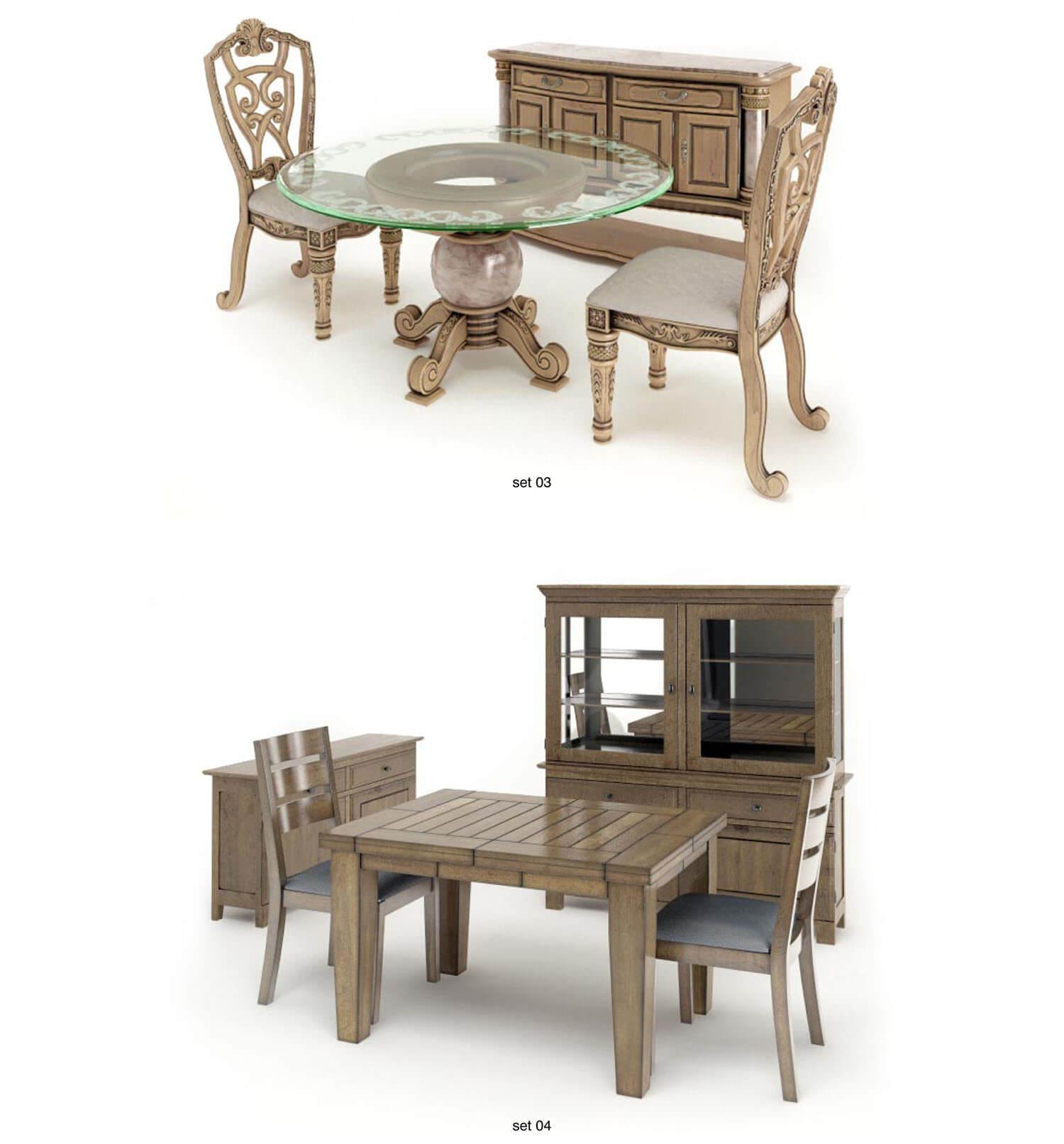 Các bộ bàn ăn, bàn uống nước nhỏ với tủ chè đồng bộ
