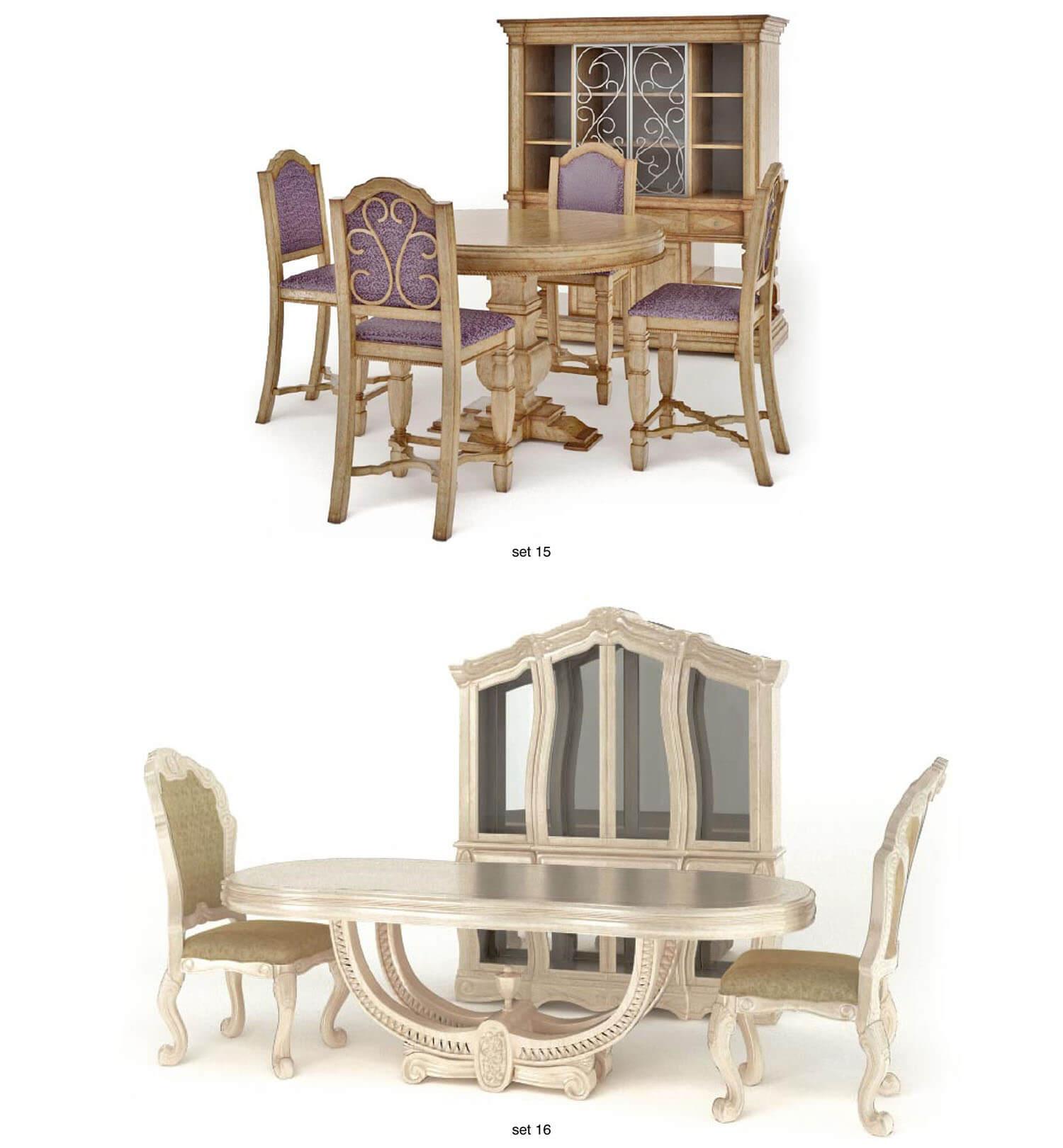 bộ bàn ăn có đường nét trang trí cầu kì và màu sắc gỗ độc đáo