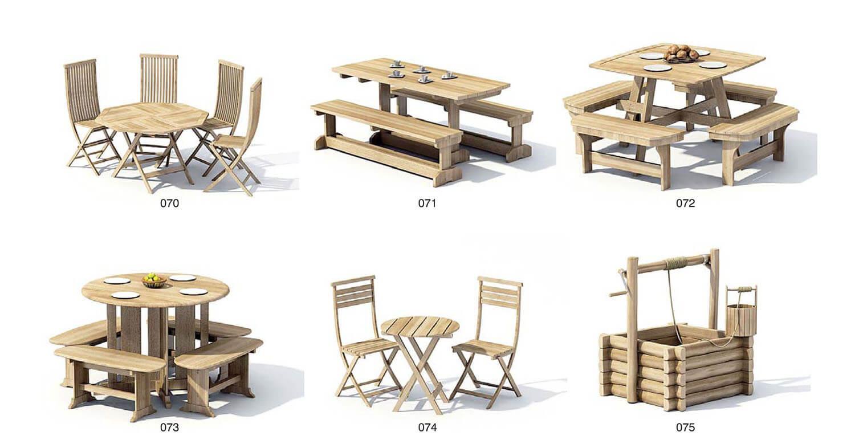 Bộ bàn ghế gỗ lớn ngoài trời