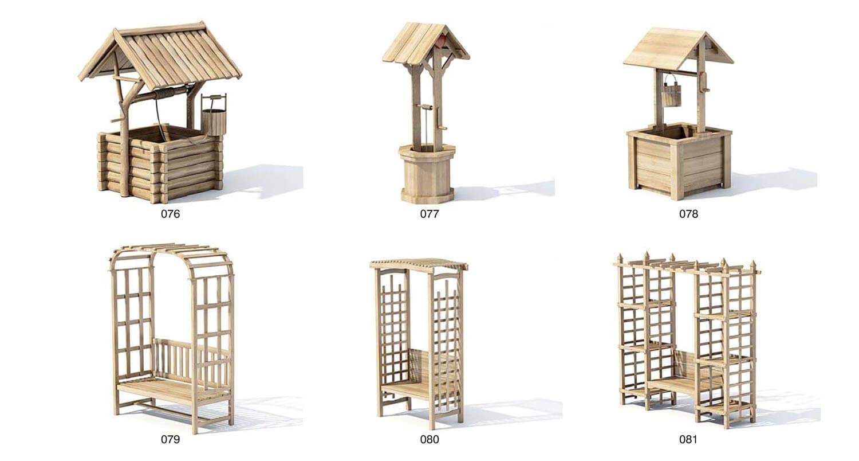 Bể nước gỗ trang trí, dàn cây gỗ trang trí