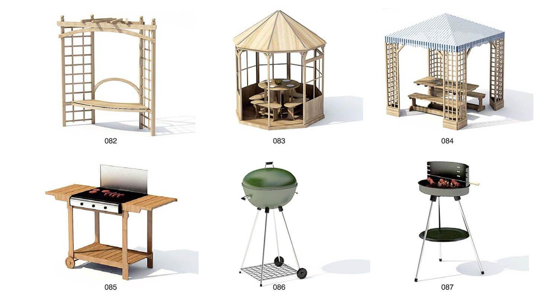 Chòi nghỉ, bàn ghế gỗ đặt trong mái che