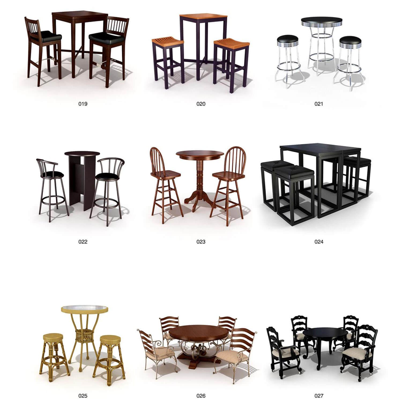 Các bộ bàn ghế gỗ nhà hàng, quán rượu, quầy bar