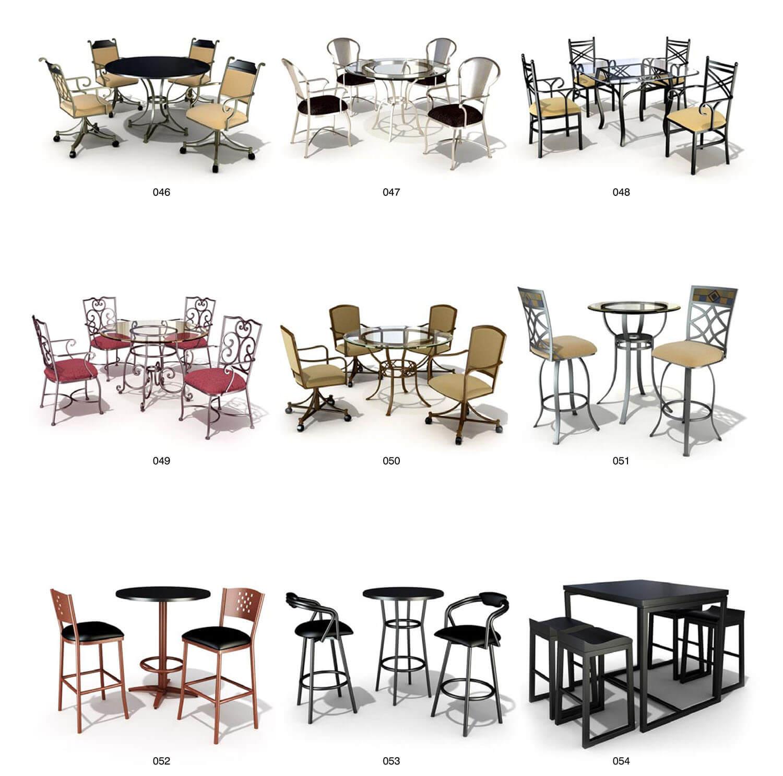 bàn ghế sắt uốn nghệ thuật mặt lưng bằng tấm inox phẳng
