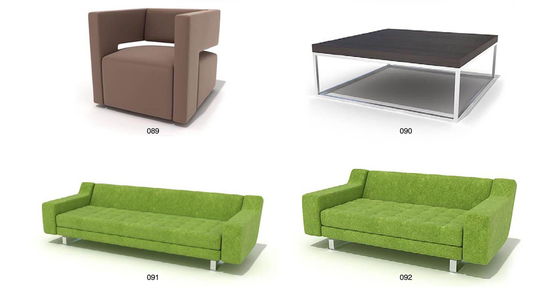 Các bộ sofa có tấm đệm dày cùng với bề mặt nỉ lông dài