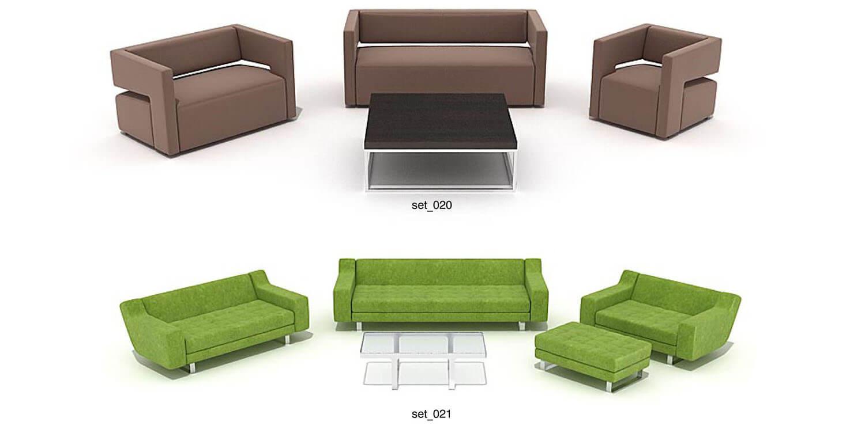Các mẫu sofa và bàn trà với đường nét vuông vức