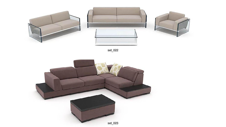 Áp dụng cho phòng khách lớn là bộ sofa với các ghế rời nhau