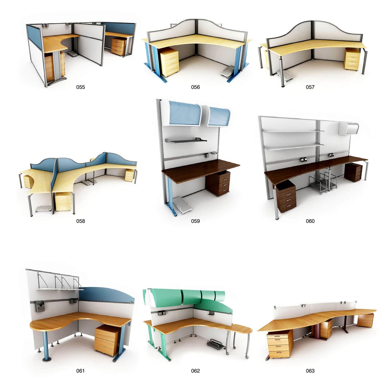 Các mẫu bàn nhân viên gồm nhiều bàn ghép với nhau ngăn bằng vách