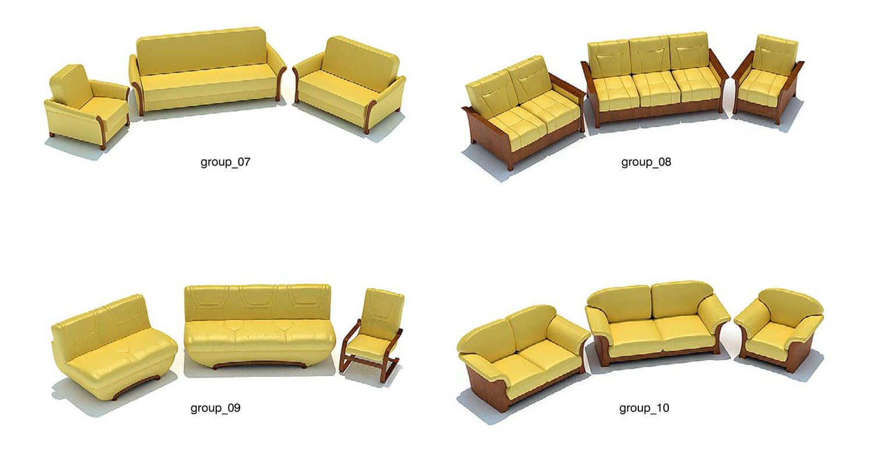 Phong cách sofa chủ đạo trong thư viện này là ghế sofa khung gỗ, bọc da