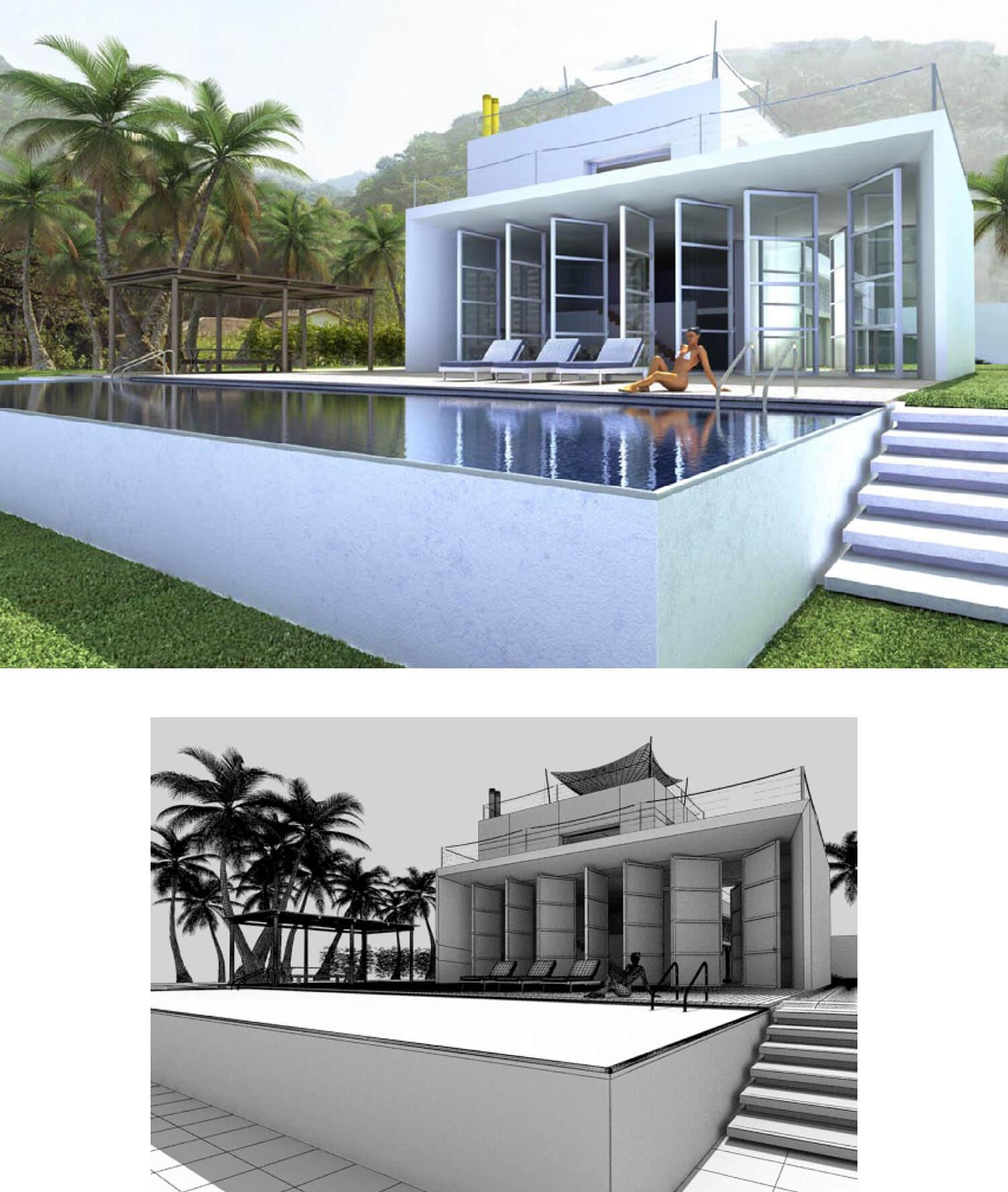 Thiết kế bể bơi biệt thự với sân vườn rộng như bơi giữa thiên nhiên