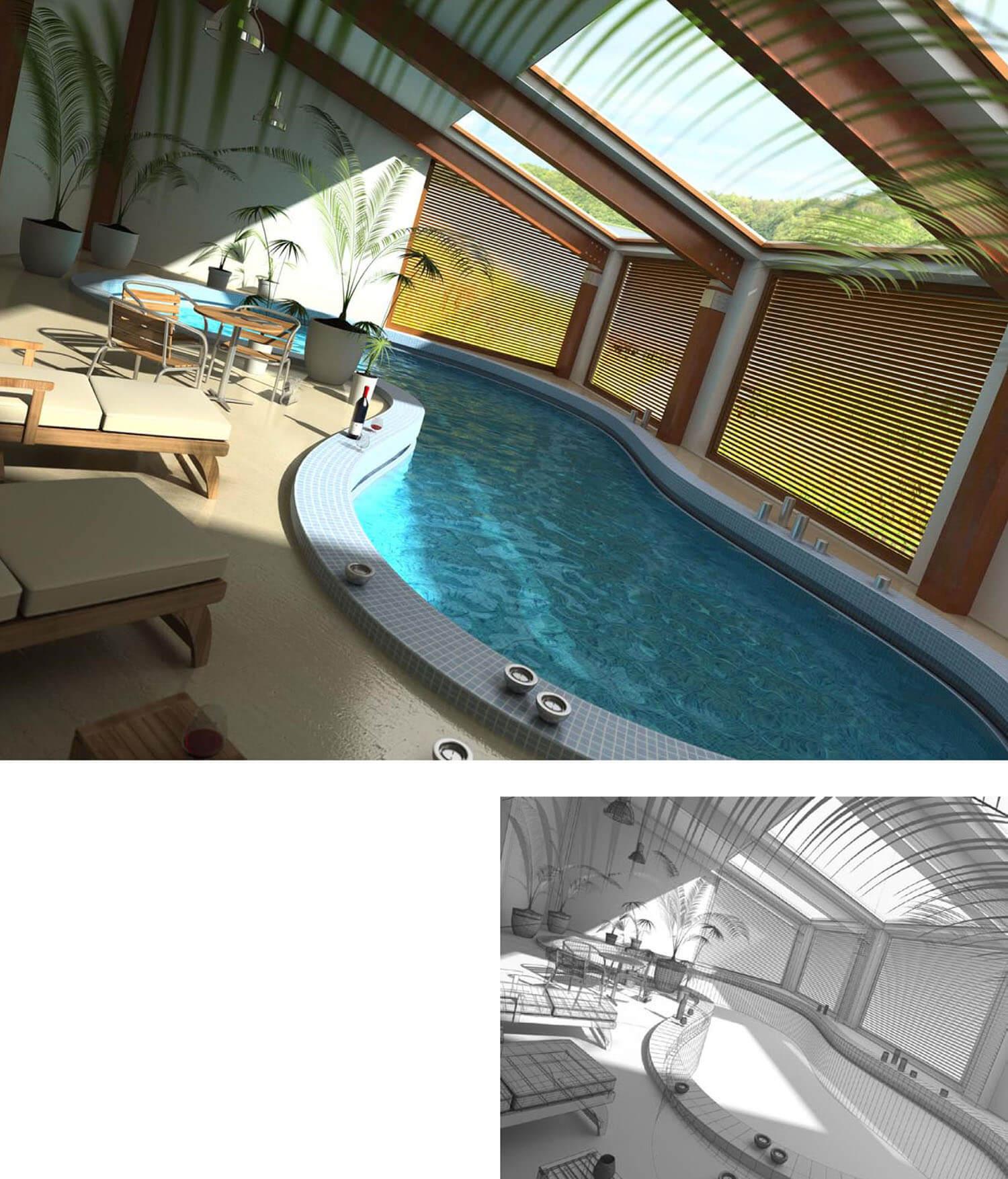 Mẫu bể bơi trong nhà được thiết kế với trần kính mang đến ánh sáng thiên nhiên mà vẫn rất riêng tư
