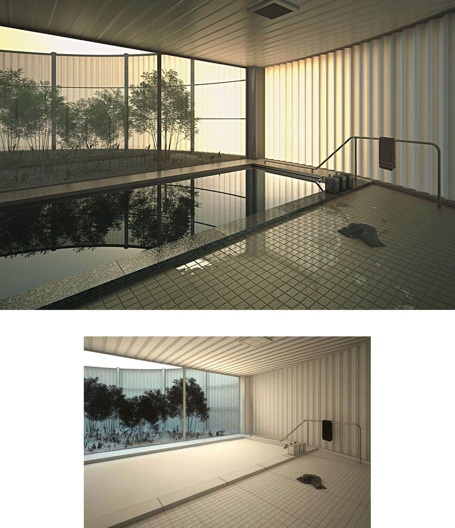Thiết kế bể bơi với diện tích rộng và vách kính mở ra vườn