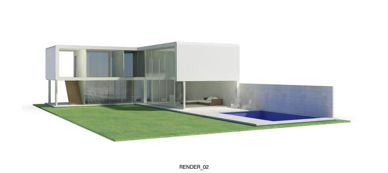 Mẫu biệt thự hai tầng thiết kế dạng hộp với sân vườn và bể bơi