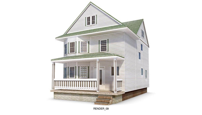Biệt thự kiểu cổ điển hình của Mỹ, với tường gỗ, sảnh trước tầng 1