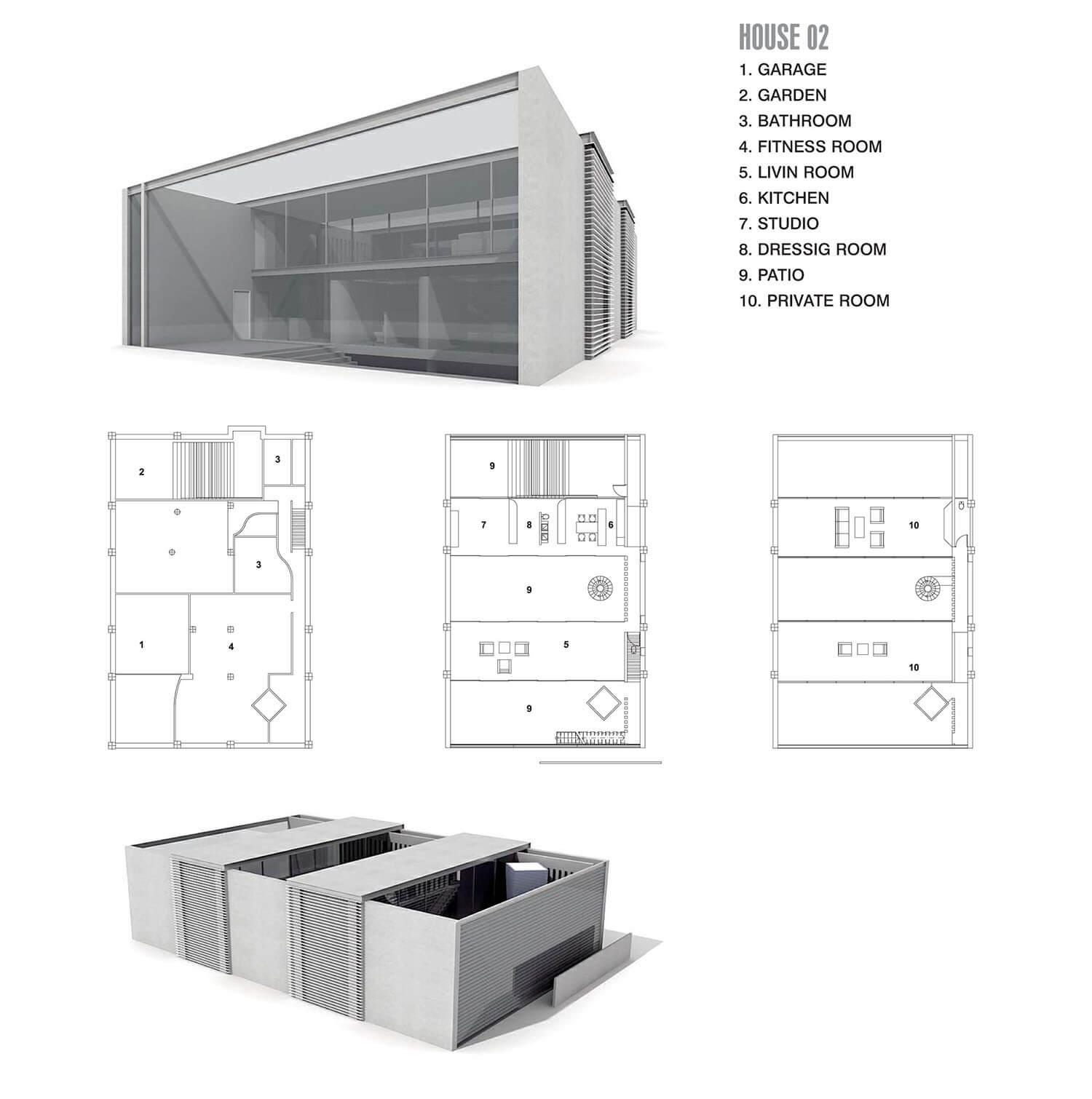 Nhà với các mảng kính lớn, đón ánh sáng và không gian