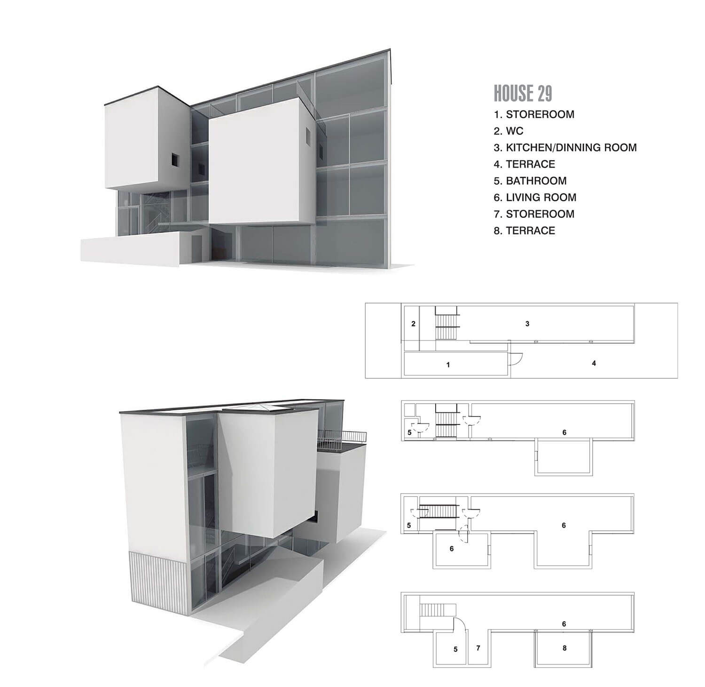 Căn nhà có 2 phòng bay ra khỏi mảng kính, điểm nhấn trong hình khối