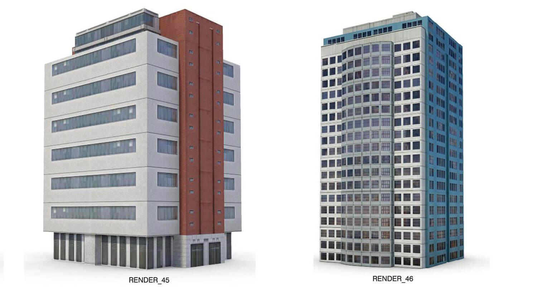 Các nhà cao tầng, building với đường nét hơi hướng phong cách hiện đại