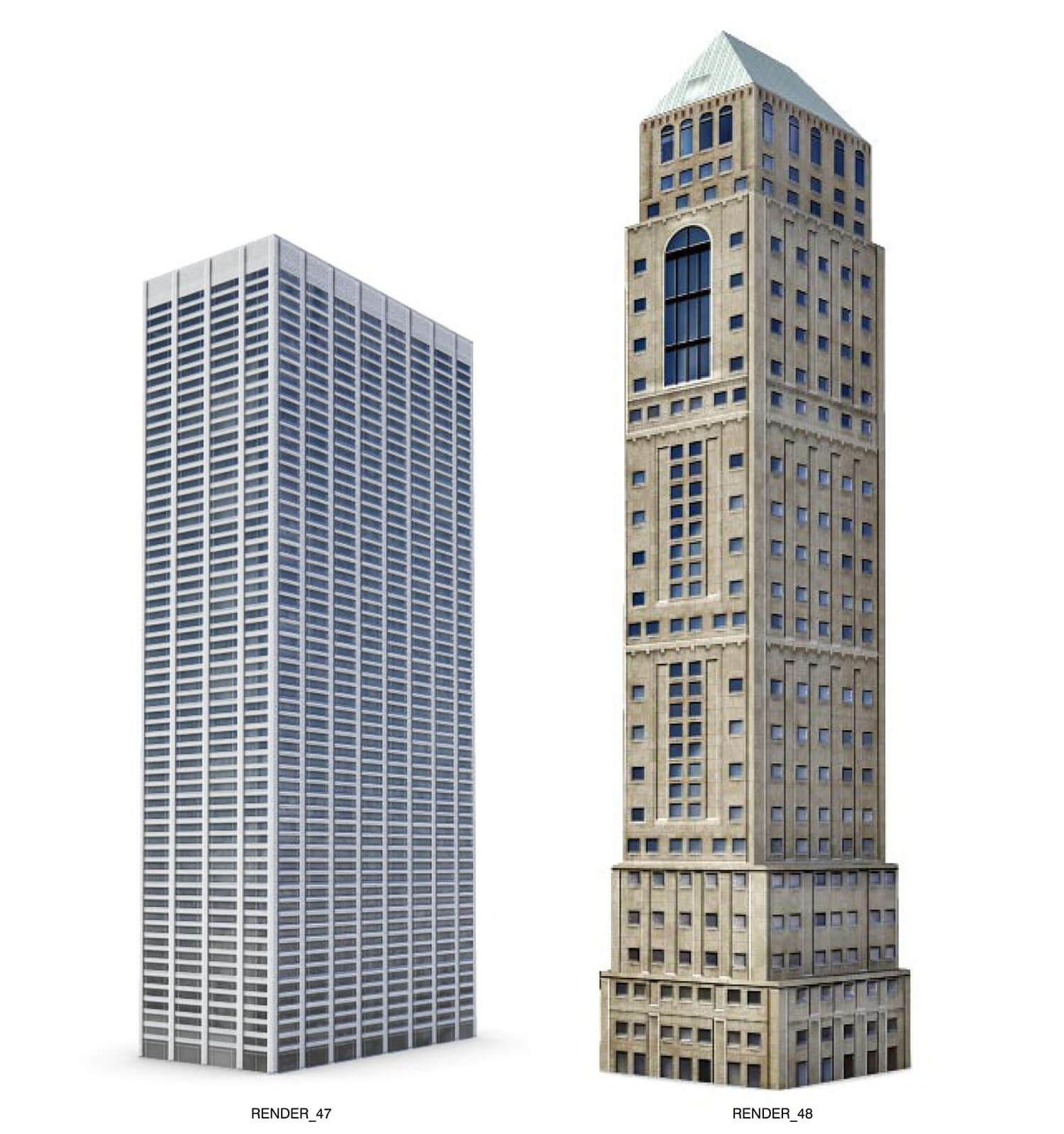 Building hiện đại và building cổ đặt cạnh nhau