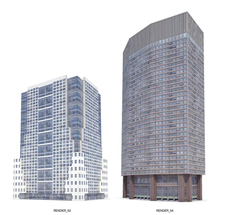 Nhà cao tầng, building với đường nét zic zac hiện đại