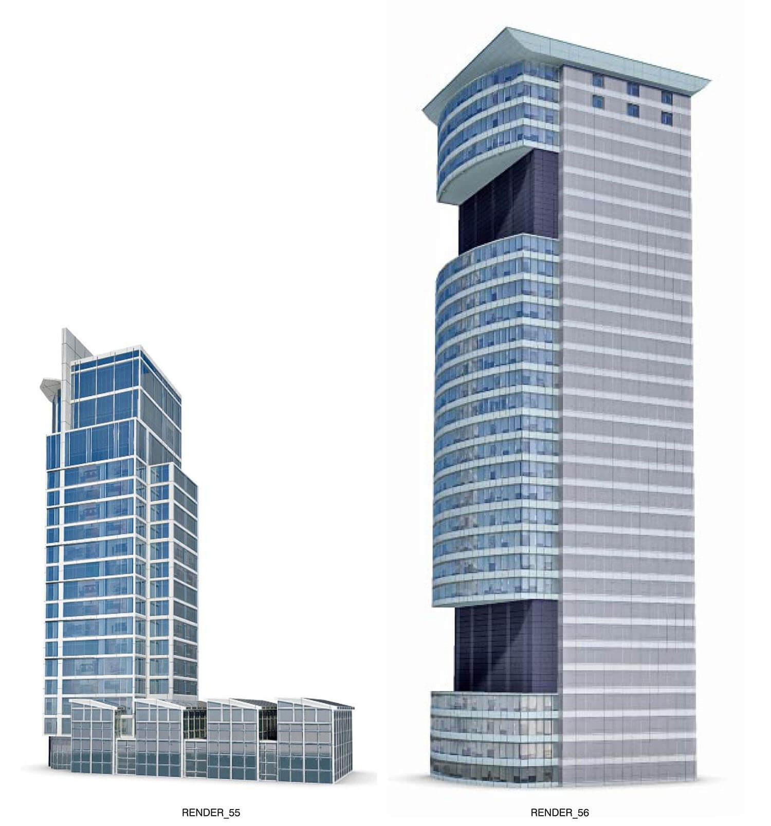 Nhà cao tầng, building với các mặt bằng kính, giảm khối lượng của tòa nhà