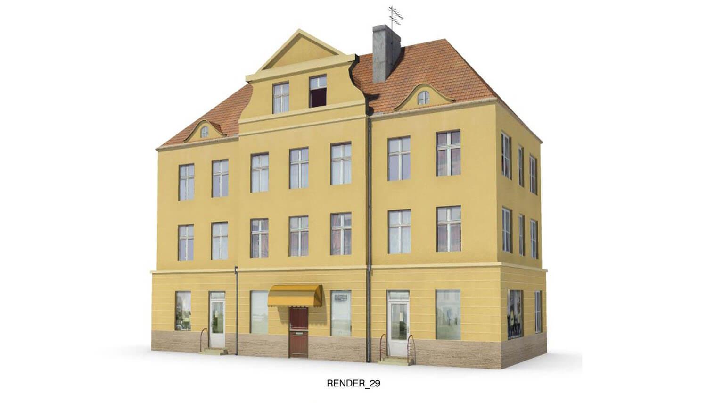 Nhà 4 tầng với tầng áp mái, gạch ốp kiểu cổ châu Âu