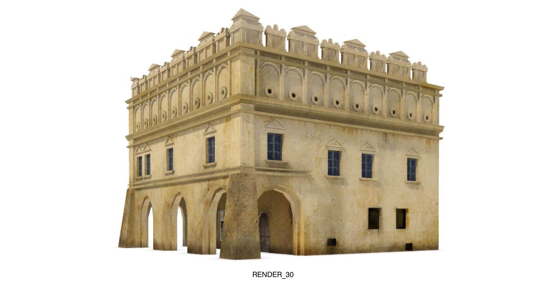 Ngôi nhà có tầng trên với đường nét trang trí kiểu Ả Rập, như các cổng thành